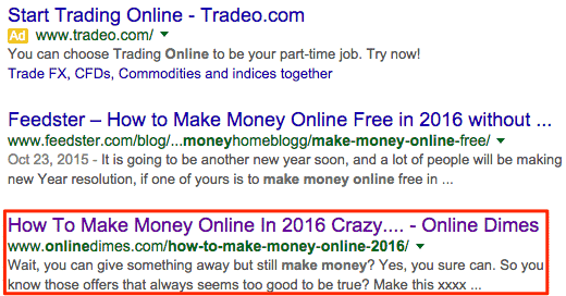 ranking websites in serps for money